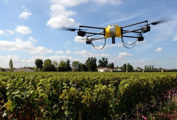 drone gerindo plantação